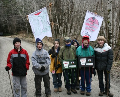 Troop 27 on the trail at the Klondike Derby