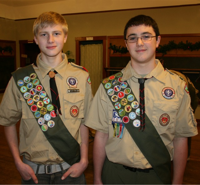 Eagle Scouts Alex Ohlson and Jesse Long