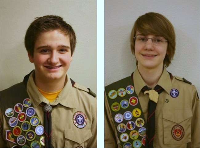 Eagle Scouts Max Reetz and Dallas Thornton