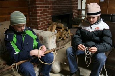 Knot tying practice at Camp Ramblewood